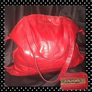 GoldenBleu Red Leather Oversized Overnight Bag